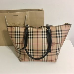 Authentic BURBERRY nova check coated canvas bag